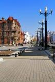 Historische gebouwen in het centrum van Khabarovsk Royalty-vrije Stock Fotografie