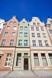 Historische gebouwen op straat Dluga in Gdansk Stock Fotografie
