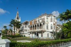 Historische Gebouwen rond Georgetown, Guyana stock afbeelding