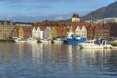 Historische gebouwen van Bryggen in de Stad van Bergen, Noorwegen Stock Foto