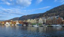 Historische gebouwen van Bryggen in de Stad van Bergen, Noorwegen Royalty-vrije Stock Foto's