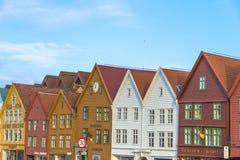 Historische gebouwen van Bryggen in de Stad van Bergen, Noorwegen Stock Fotografie