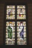 Historische gebrandschilderd glasvensters in Rijksmuseum, Amsterdam, Nederland Stock Afbeelding