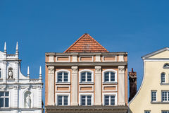 Historische Gebäude in Rostock Stockbild