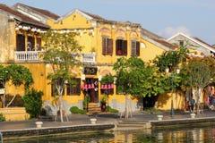 Historische gelbe Hausflussreflexionen, Hoi An stockbild