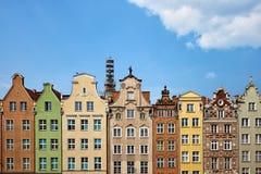 Historische Häuser in der alten Stadt von Gdansk stockfoto