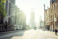Historische Häuser in Gent lizenzfreie stockfotos