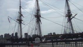 Historische hölzerne Fregatte 'USS-Konstitution ', Boston stock footage