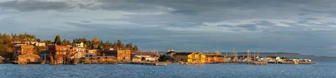 Historische Haven Townsend, Washington Waterfront bij Zonsopgang Royalty-vrije Stock Afbeeldingen