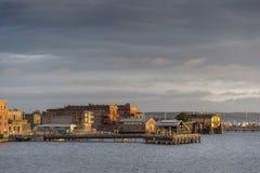 Historische Haven Townsend, Washington Waterfront bij Zonsopgang Royalty-vrije Stock Foto's