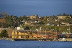 Historische Haven Townsend, Washington Waterfront bij Zonsopgang Stock Fotografie