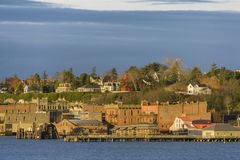 Historische Haven Townsend, Washington Waterfront bij Zonsopgang Stock Foto