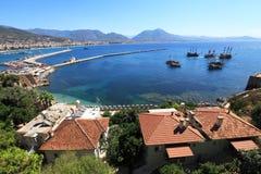 Historische haven van stad Alanya, Turkije Stock Foto's