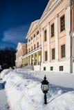 Historische hoeve in de winter Stock Foto