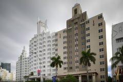 Historische hotels in het Strand van Miami Stock Foto