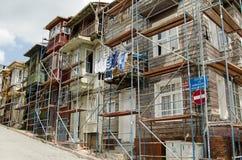Historische houten huizen, Istanboel Stock Fotografie