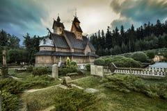 Historische houten tempel Wang in Karpacz, Polen royalty-vrije stock afbeeldingen