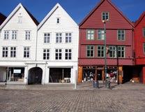 Historische huizen in Bergen Royalty-vrije Stock Afbeelding