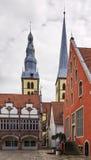Historische huizen in Lemgo, Duitsland royalty-vrije stock afbeeldingen