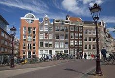 Historische huizen op de hoek van Bloemgracht en Prinsengracht Amsterdam Nederland Royalty-vrije Stock Fotografie
