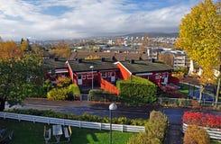 Historische huizen in Oslo Lindeberg in de herfst royalty-vrije stock fotografie