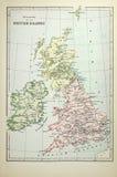 Historische kaart van Britse Eilanden Stock Foto