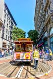 Historische Kabelwagen in San Francisco, Californië Stock Fotografie
