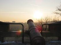 Historische Kanone auf dem Wälle Åpilberk stockbild