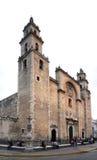 Historische kathedraalingang en voorgevel Merida, Mexico Stock Foto