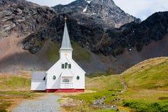 Historische Kirche bei Grytviken in Antarktik. Stockfoto