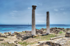 Historische kolommen in Tharros, royalty-vrije stock foto's
