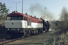 Historische locomotieven Bardotka en Edelman Stock Fotografie