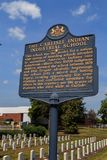 Historische Markierung bei Carlisle Indian Industrial School Lizenzfreie Stockfotografie