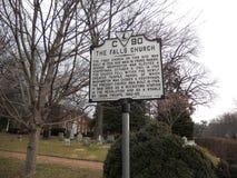 Historische Markierung des Falls Church Stockfoto