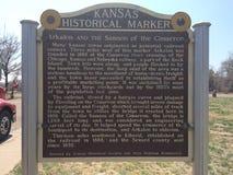 Historische Markierung Kansas Stockfoto