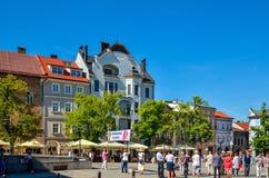 Historische markt in bielsko-Biala, Polen royalty-vrije stock foto's