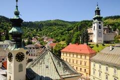 Historische mijnbouwstad Banska Stiavnica royalty-vrije stock foto