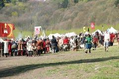Historische militairen vóór de slag Stock Foto