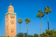 Historische minaret en palmen stock foto