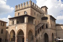 Historische Mitte Castell-` Arquato Piacenza Italien Stockfotografie