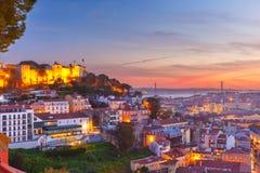 Historische Mitte von Lissabon bei Sonnenuntergang, Portugal Stockfoto