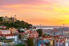 Historische Mitte von Lissabon bei Sonnenuntergang, Portugal Stockfotografie