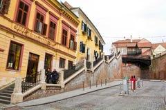 Historische Mitte von Sibiu Stockfotografie