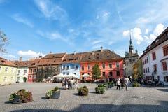 Historische Mitte von Sighisoara, Rumänien Stockbilder