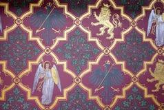 Historische mittelalterliche Wandtapete mit Engeln und e Stockbild