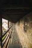 Historische muur rond Rothenburg ob der Tauber in Germani Stock Foto