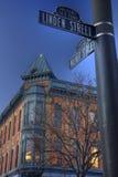 Historische oude stad van Fort Collins, Colorado Royalty-vrije Stock Afbeeldingen