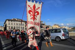 Historische parade in Florence, Italië Royalty-vrije Stock Foto's