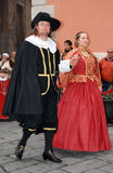 Historische Parade in Taggia Stockfotos