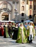 Historische parade in Vigevano Stock Foto